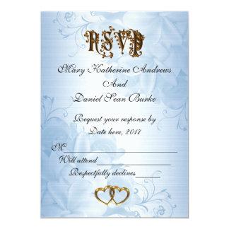 RSVPのエレガントで青いサテンの結婚式 12.7 X 17.8 インビテーションカード