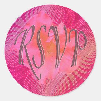 RSVPのピンクの花 ラウンドシール