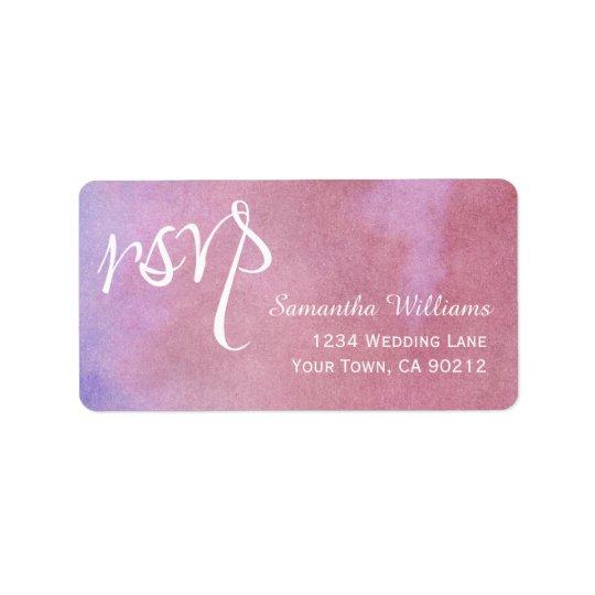 RSVPのラベルを結婚する紫色の藤色の水彩画 宛名ラベル