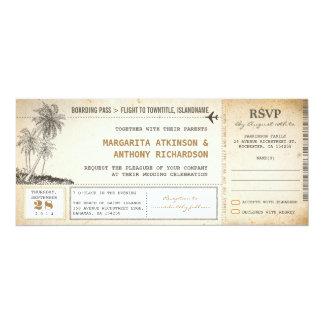 RSVPの古い搭乗券飛行結婚式の招待 カード