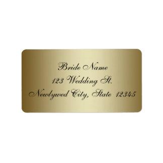 RSVPの差出人住所ラベルを結婚する金ゴールド ラベル