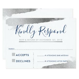 RSVPの応答の応答カードは銀製の濃紺を金めっきしました カード