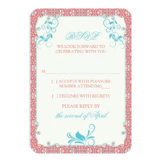 RSVPの応答を結婚するロココ様式の花の珊瑚の水 カード