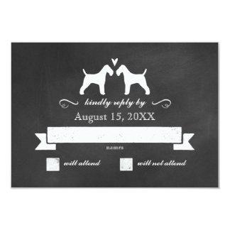RSVPの応答を結婚するワイヤーフォックステリア犬のシルエット カード