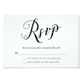 RSVPの応答カードを結婚している氏及び夫人Black及び白 8.9 X 12.7 インビテーションカード