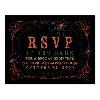 RSVPの気味悪いくものハローウィンパーティの郵便はがき ポストカード