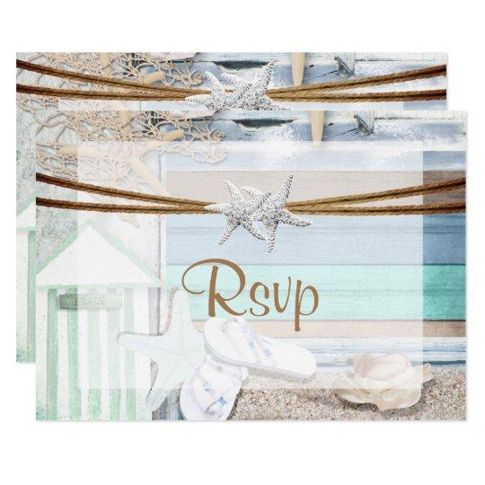 RSVPの海辺の結婚式 カード