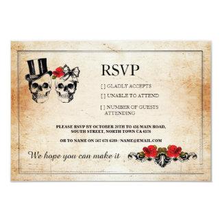 RSVPの結婚式のスカルのスカルのバラの素朴なカード カード