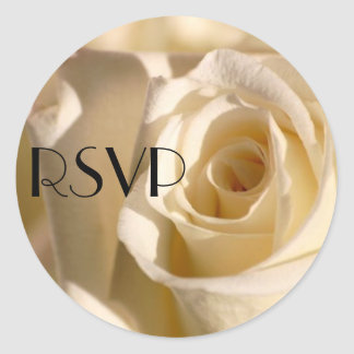 RSVPの結婚式のステッカーのクリームは上がりました ラウンドシール