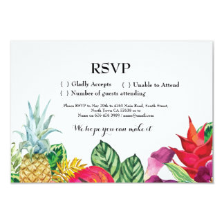 RSVPの結婚式アロハ熱帯カード招待のルアウ(ハワイ式宴会) カード