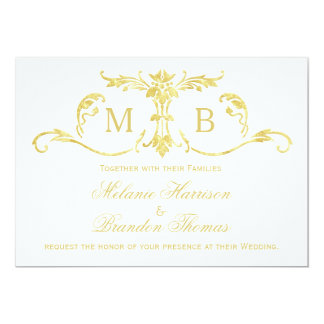 RSVPの結婚式セットを持つ金ゴールドの結婚式招待状 カード