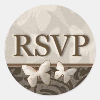 RSVPの蝶 ラウンドシール