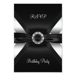 RSVPの誕生日のダイヤモンドの宝石の白黒の銀 カード