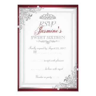RSVPの赤い銀製のダマスク織のティアラの菓子16 8.9 X 12.7 インビテーションカード