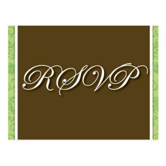 RSVPの郵便はがきを結婚しているブラウン ポストカード