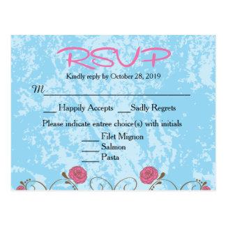 RSVPの郵便はがきを結婚するピンク及び青い花の鳥かご ポストカード