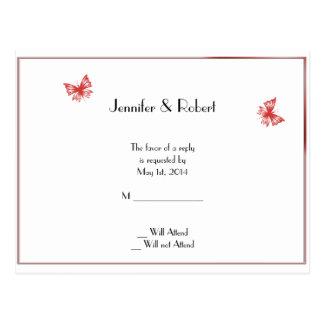 RSVPの郵便はがきを結婚する柿の蝶ハート ポストカード