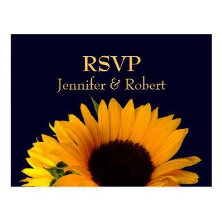 RSVPの郵便はがきを結婚する濃紺 ポストカード