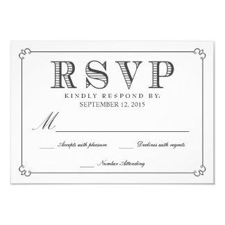 RSVPの黒板-ファンシーなモノグラム カード