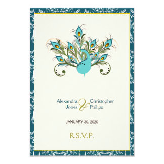 RSVPを結婚している孔雀はダマスク織に羽をつけます カード