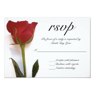 RSVPを結婚している赤いバラ 8.9 X 12.7 インビテーションカード