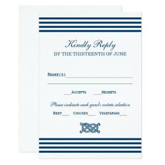 RSVPを結婚して|の航海のでストライプなテーマを梳いて下さい 8.9 X 12.7 インビテーションカード