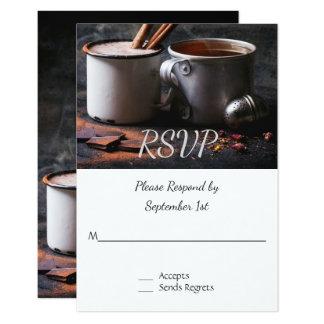 RSVPを結婚するおよびココア素朴なお茶 カード