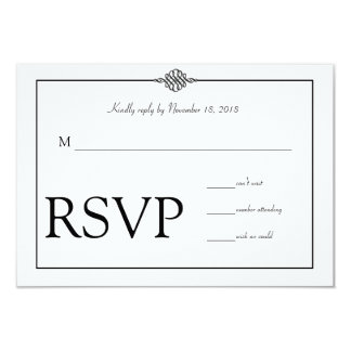 RSVPを結婚するシンプルで上品な白黒 8.9 X 12.7 インビテーションカード