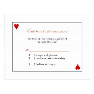 RSVPを結婚するシンプルなトランプ ポストカード