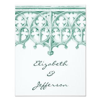 RSVPを結婚するティール(緑がかった色)のカテドラル カード