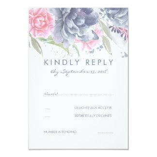 RSVPを結婚するピンクおよび挨りだらけの青い花 カード
