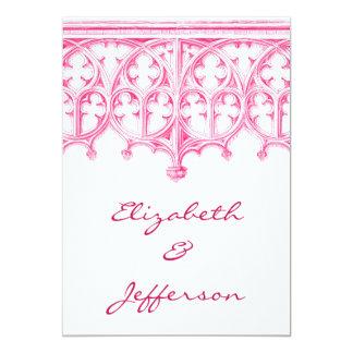 RSVPを結婚するピンクのカテドラル カード