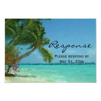 RSVPを結婚するヤシの木の海の行先 カード