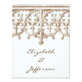 RSVPを結婚するヴィンテージのセピア色のカテドラル カード