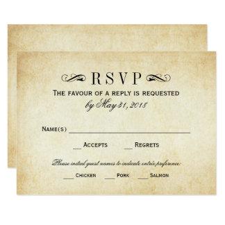 RSVPを結婚するヴィンテージは|のエレガントな華麗さを梳きます カード