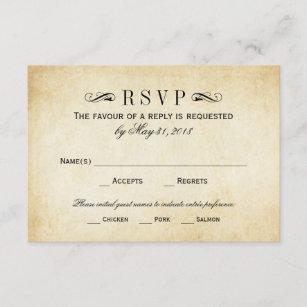 RSVPを結婚するヴィンテージは のエレガントな華麗さを梳きます 出欠カード