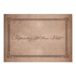 RSVPを結婚するヴィンテージポスタースタイルの素朴なココア カード