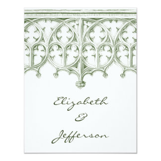 RSVPを結婚する夏の緑のカテドラル カード