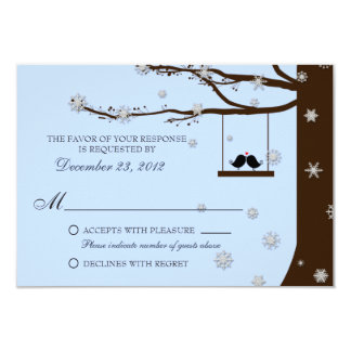 RSVPを結婚する愛鳥の雪片のオークの木の冬 カード