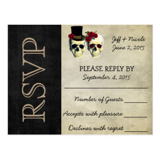 RSVPを結婚する新郎新婦の砂糖のスカル ポストカード
