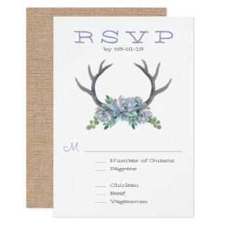 RSVPを結婚する水彩画の(雄ジカの)枝角およびEcheveria カード