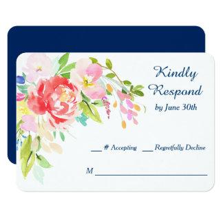 RSVPを結婚する濃紺のネコヤナギそして花柄 8.9 X 12.7 インビテーションカード