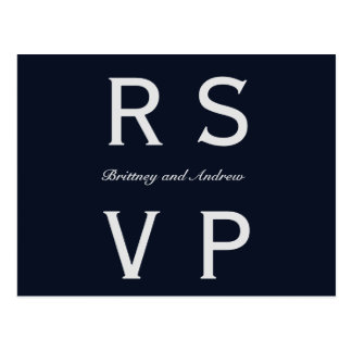RSVPを結婚する濃紺 ポストカード