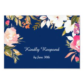 RSVPを結婚する珊瑚のピンクの花のボーダー濃紺 8.9 X 12.7 インビテーションカード