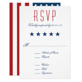 RSVPを結婚する米国の愛国心が強い旗 カード