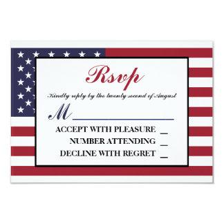 RSVPを結婚する米国旗 カード
