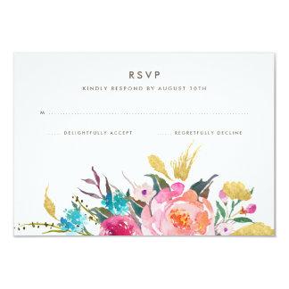 RSVPを結婚する緑豊かな花束 カード