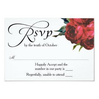 RSVPを結婚する赤いバラの花束 カード