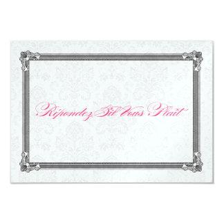 RSVPを結婚する金属ショッキングピンク及び銀のダマスク織 カード