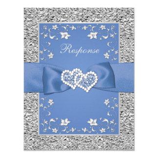 RSVPを結婚する青い銀製の花のハートの模造のなホイル カード